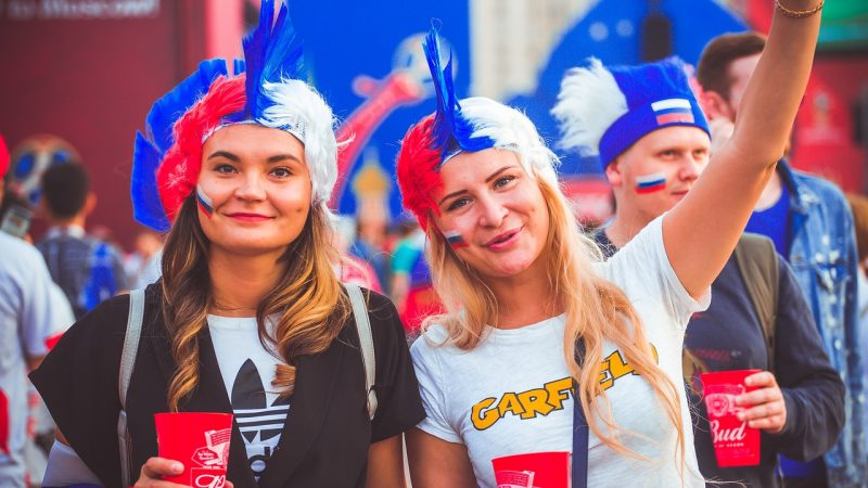 Russian girls are cheering for their country